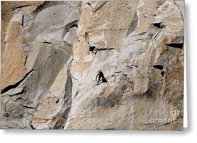 Rock Climber On El Capitan Greeting Card by Mark Newman