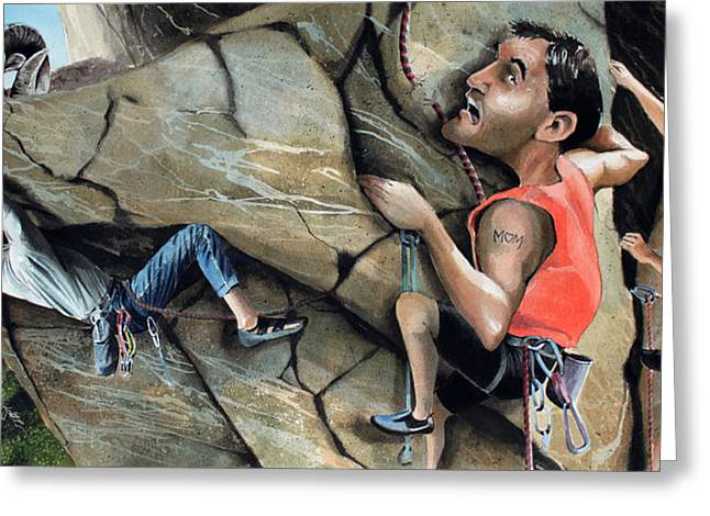 Mountain Climbing Greeting Cards - Rock Climbers Greeting Card by Denny Bond