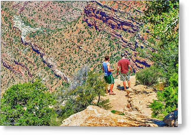 Desertview Greeting Cards - Rock Climbing and Hiking the Grand Canyon Greeting Card by  Bob and Nadine Johnston