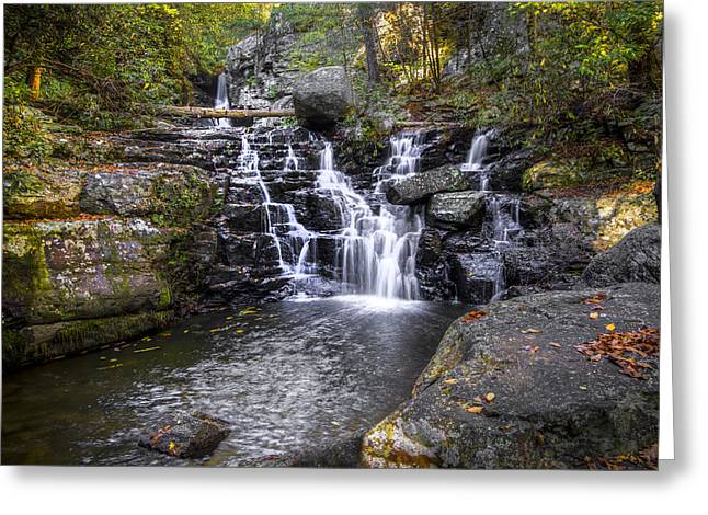 Oak Creek Greeting Cards - Rock Creek Falls Greeting Card by Debra and Dave Vanderlaan