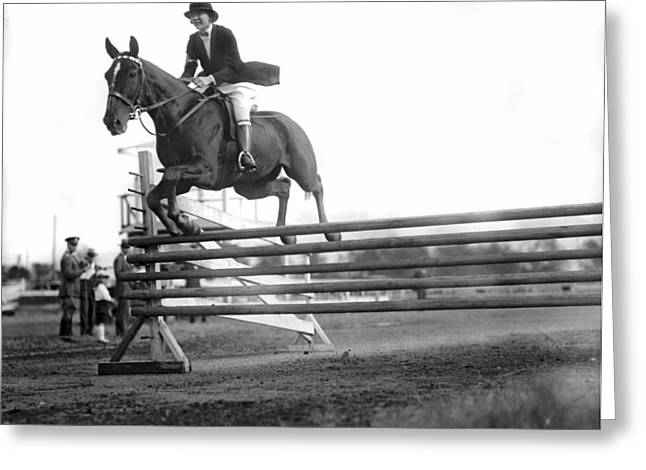 Rock Creek Hunt Club Jumps Greeting Card by Underwood Archives
