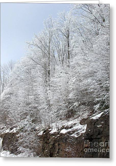 Photography By Govan. Vertical Format Greeting Cards - Rock Cut in Winter Greeting Card by Andrew Govan Dantzler