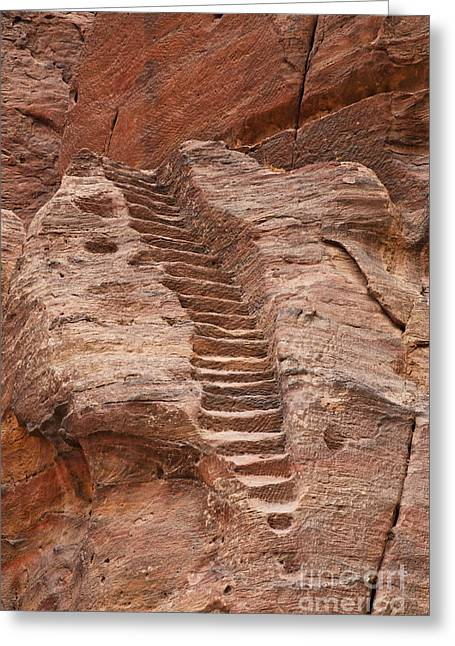 Jordan Photographs Greeting Cards - Rock cut stairway of the Street of Facades Petra Jordan Greeting Card by Robert Preston
