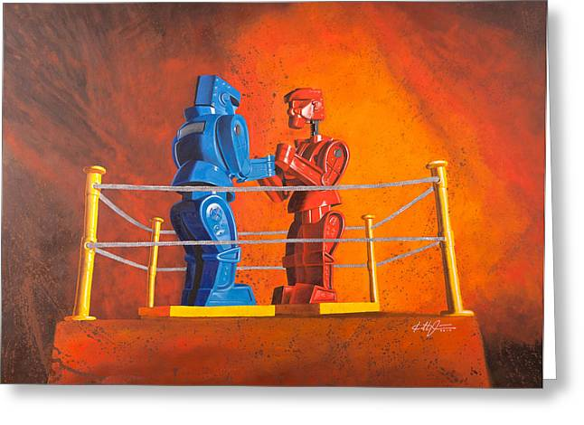 Toys Paintings Greeting Cards - Rock em Sock em Robots Greeting Card by Karl Melton