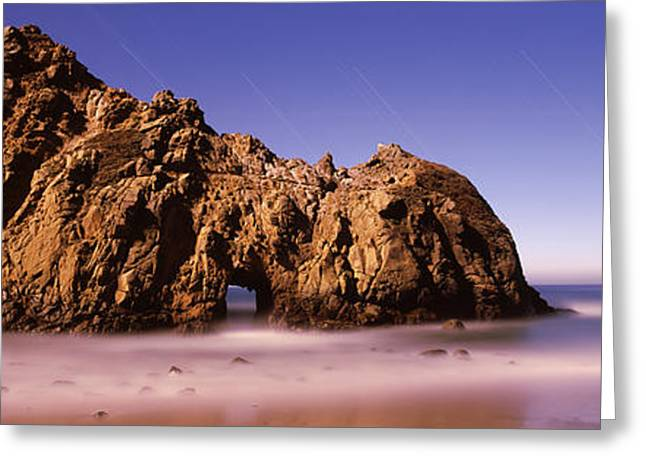 Big Sur California Photographs Greeting Cards - Rock Formation On The Beach, One Hour Greeting Card by Panoramic Images