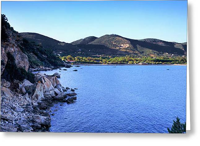 Rock Formations At Seaside, Golfo Greeting Card by Panoramic Images