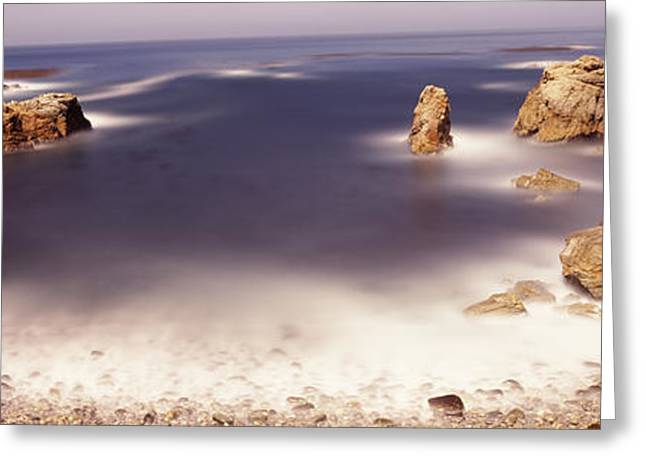 Big Sur California Greeting Cards - Rock Formations At The Coast, Moonlight Greeting Card by Panoramic Images