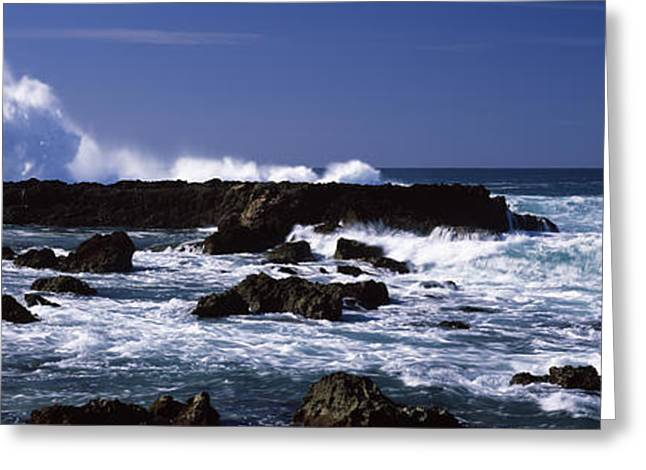 The Natural World Greeting Cards - Rock Formations At The Sea, Three Greeting Card by Panoramic Images