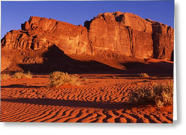 Jordan Hill Greeting Cards - Rock Formations In A Desert, Jebel Um Greeting Card by Panoramic Images
