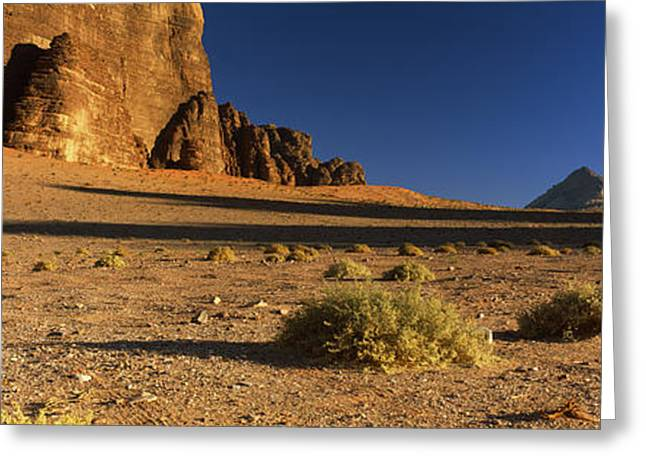 Jordan Photographs Greeting Cards - Rock Formations In A Desert, Wadi Um Greeting Card by Panoramic Images
