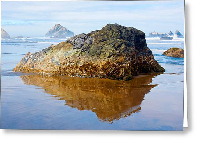 Sea Stack Reflections Greeting Cards - Rock Formations In The Sea, Bandon Greeting Card by Panoramic Images
