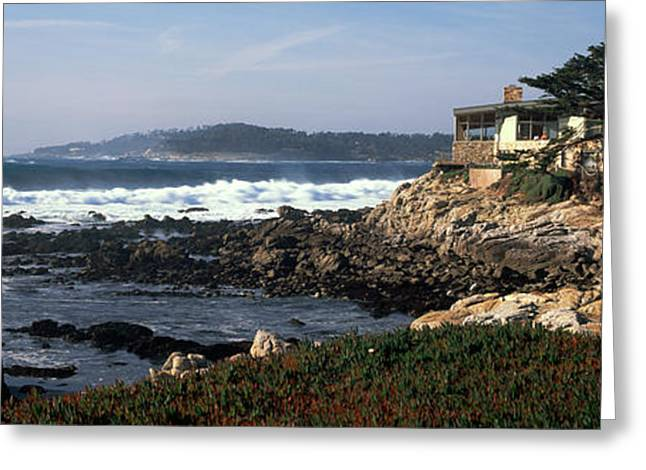 Buildings By The Ocean Greeting Cards - Rock Formations In The Sea, Carmel Greeting Card by Panoramic Images