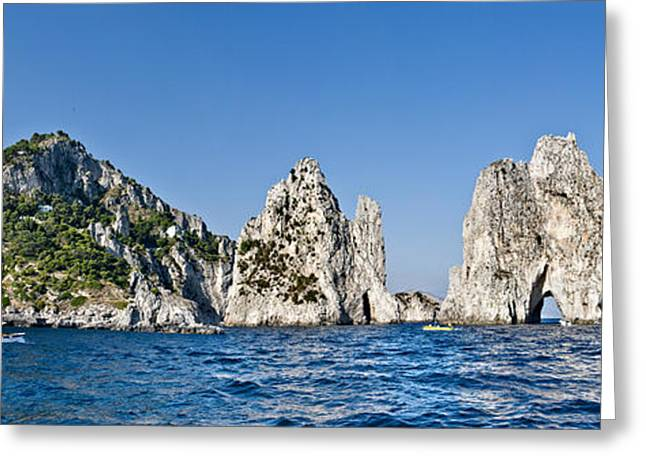Naples Greeting Cards - Rock Formations In The Sea, Faraglioni Greeting Card by Panoramic Images