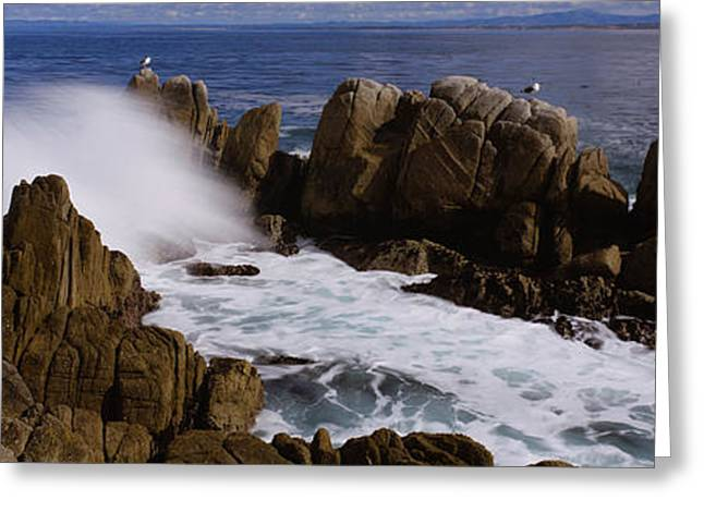 Strength Photographs Greeting Cards - Rock Formations In Water, Pebble Beach Greeting Card by Panoramic Images