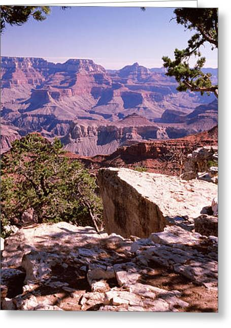 National Landmark Greeting Cards - Rock Formations, Mather Point, South Greeting Card by Panoramic Images