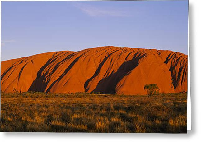 Ayers Rock Greeting Cards - Rock Formations On A Landscape, Ayers Greeting Card by Panoramic Images