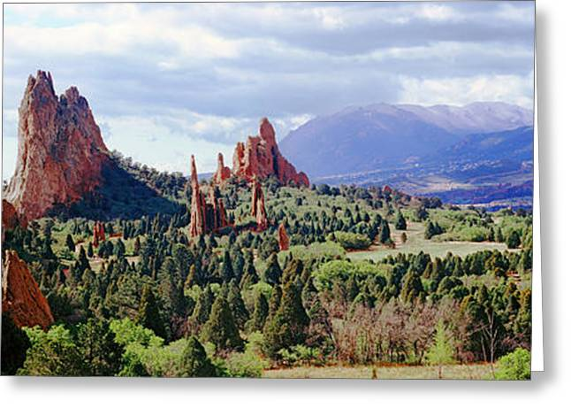 Garden Of The Gods Greeting Cards - Rock Formations On A Landscape, Garden Greeting Card by Panoramic Images