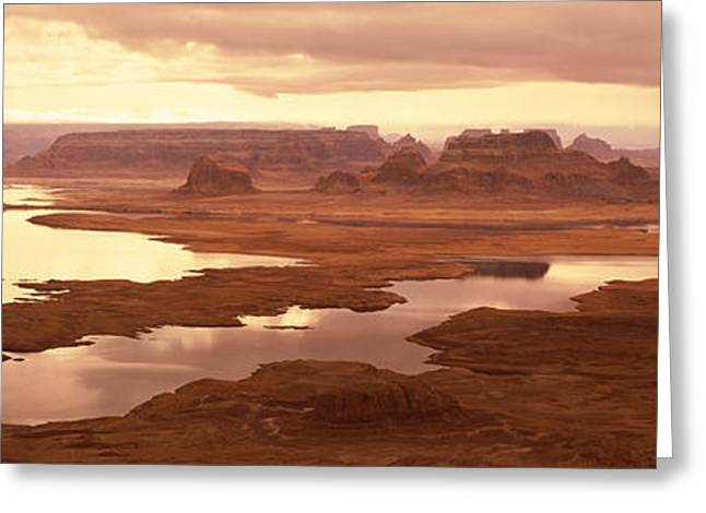 Lake Powell Greeting Cards - Rock Formations On A Landscape, Lake Greeting Card by Panoramic Images