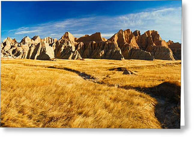 Geology Photographs Greeting Cards - Rock Formations On A Landscape, Prairie Greeting Card by Panoramic Images