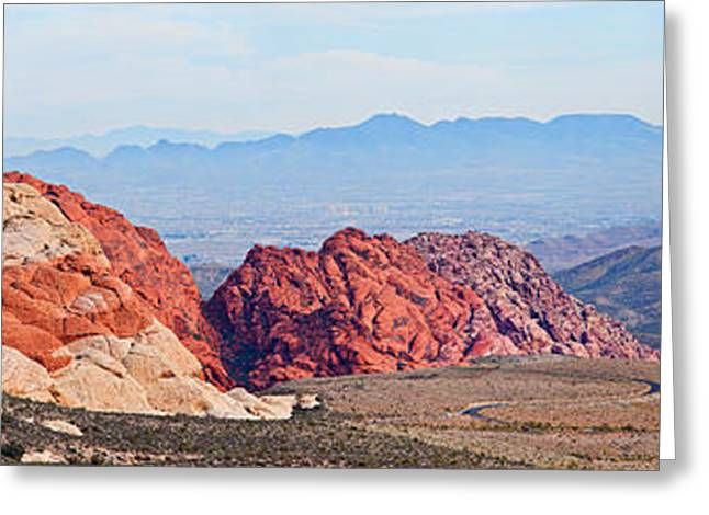 Red Rock Canyon Greeting Cards - Rock Formations On A Landscape, Red Greeting Card by Panoramic Images
