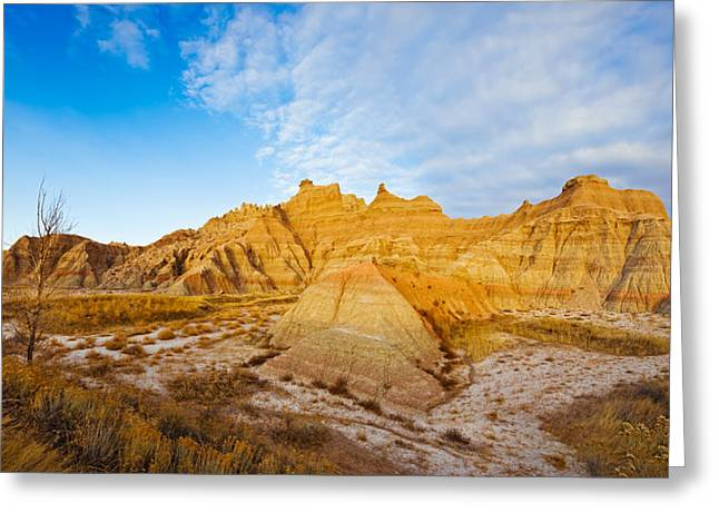 Badlands National Park Greeting Cards - Rock Formations On A Landscape, Saddle Greeting Card by Panoramic Images
