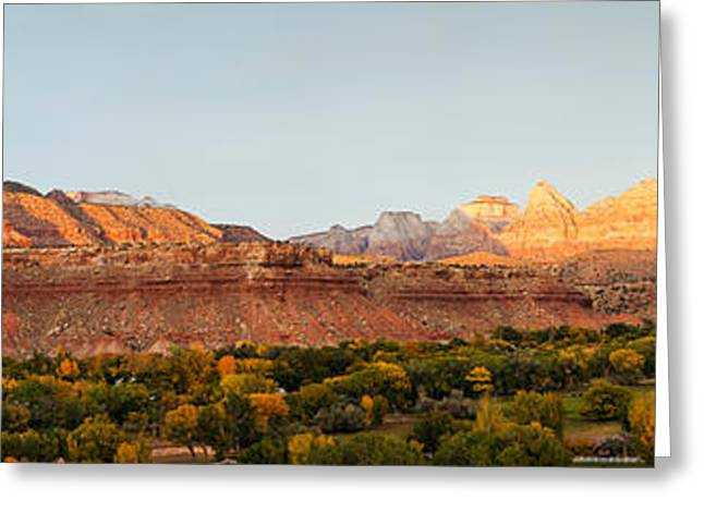 Grafton Greeting Cards - Rock Formations On A Landscape, Zion Greeting Card by Panoramic Images
