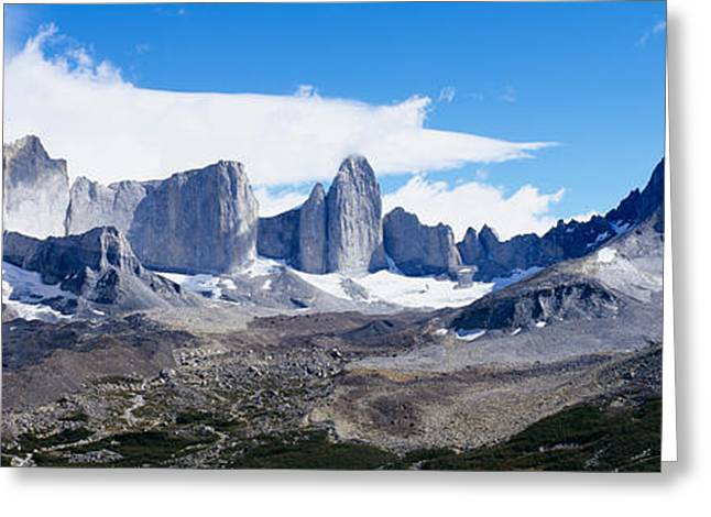Mountain Greeting Cards - Rock Formations On A Mountain Range Greeting Card by Panoramic Images