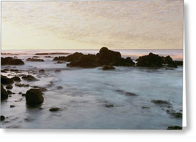 Rock Formations On Beach At Sunrise Greeting Card by Panoramic Images