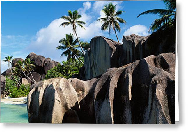 Away From It All Greeting Cards - Rock Formations On The Beach, Anse Greeting Card by Panoramic Images