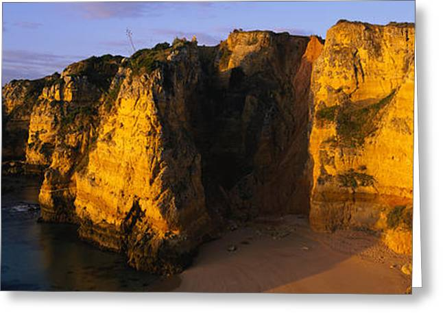Algarve Greeting Cards - Rock Formations On The Beach, Lagos Greeting Card by Panoramic Images