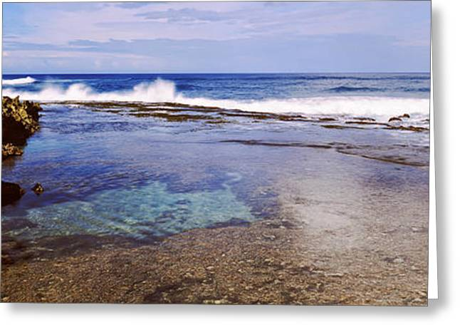 Ocean Photography Greeting Cards - Rock Formations On The Beach, Oahu Greeting Card by Panoramic Images