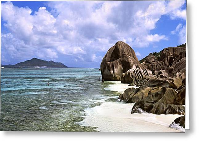 Panoramic Ocean Greeting Cards - Rock Formations On The Beach On Anse Greeting Card by Panoramic Images