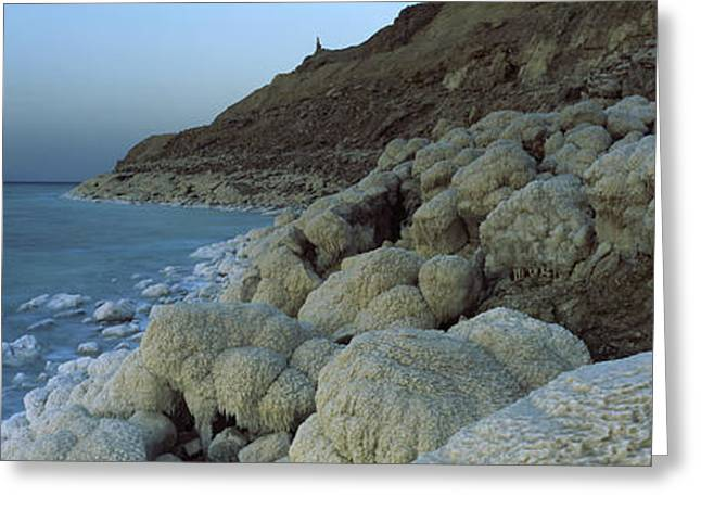 Dead Sea Greeting Cards - Rock Formations On The Coast, Arabah Greeting Card by Panoramic Images