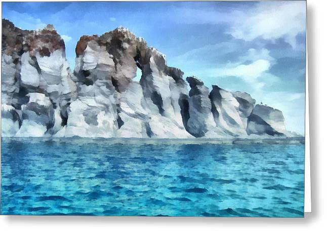 Ocean Photos Digital Greeting Cards - Rock Formations Sea of Cortez Greeting Card by Ann Powell