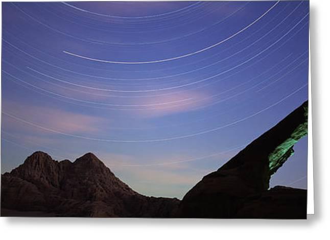 Jordan Trail Greeting Cards - Rock Formations, Wadi Rum, Jordan Greeting Card by Panoramic Images