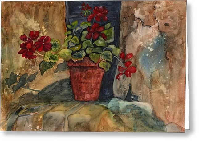 Red Geraniums Greeting Cards - Rock Geranuims Greeting Card by Diana Sanford