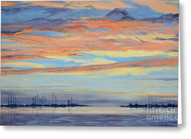 Md Paintings Greeting Cards - Rock Hall Sunset Greeting Card by Cindy Roesinger