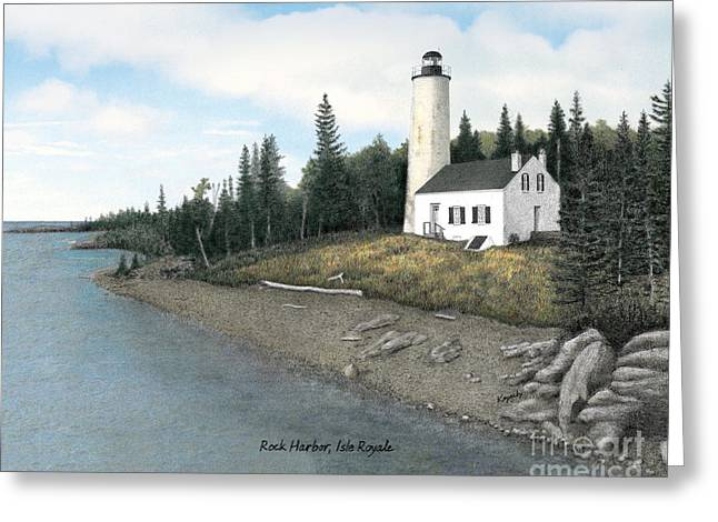 Darren Mixed Media Greeting Cards - Rock Harbor Lighthouse Titled Greeting Card by Darren Kopecky