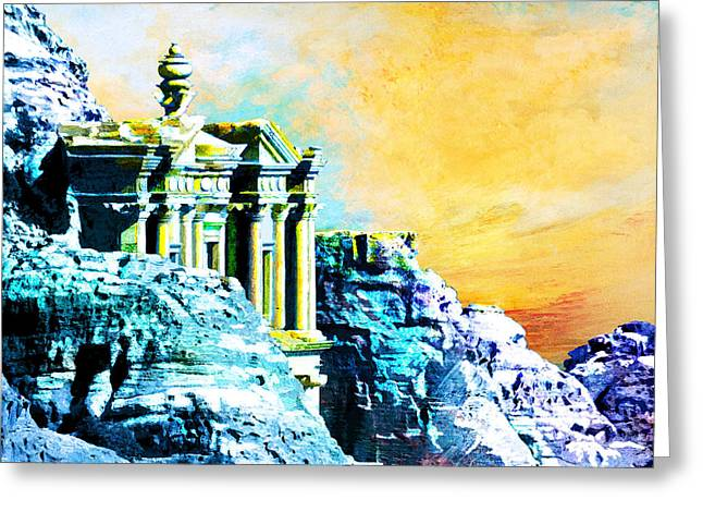 Rabat Greeting Cards - Rock Hewn Monastery Ad-Deir Greeting Card by Catf