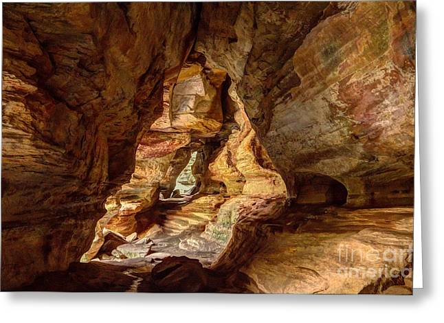 Ohio Pyrography Greeting Cards - Rock House at Hocking Hills OH Greeting Card by Sophie Doell