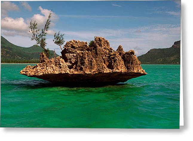 Mauritius Greeting Cards - Rock In Indian Ocean With Mountain Greeting Card by Panoramic Images