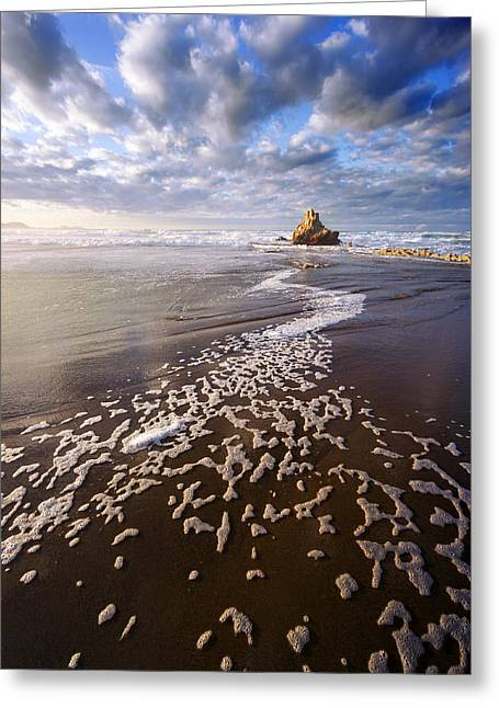 Pais Vasco Greeting Cards - rock in Sopelana beach with foam track Greeting Card by Mikel Martinez de Osaba