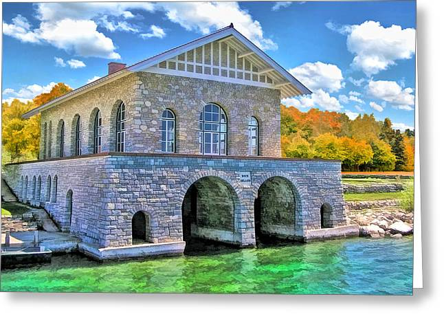 Rock Island Boathouse Greeting Card by Christopher Arndt