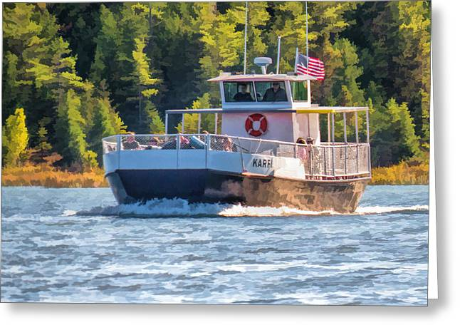 Ann Paintings Greeting Cards - Rock Island Karfi Ferry in Door County Greeting Card by Christopher Arndt