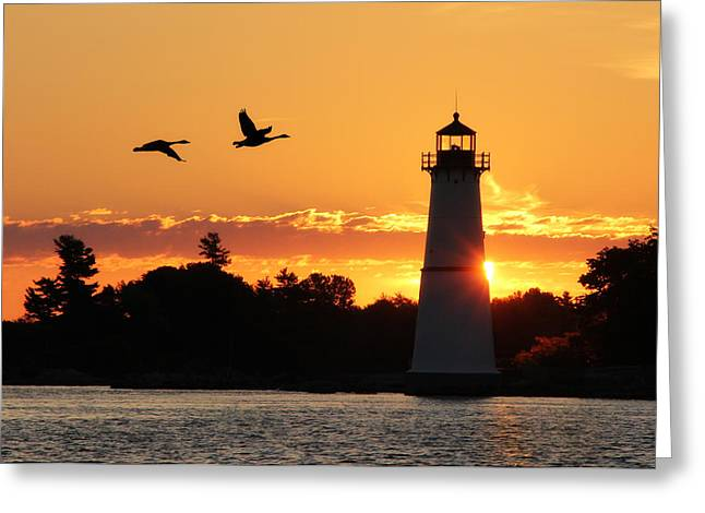 Rock Island Lighthouse Silhouettes Greeting Card by Lori Deiter