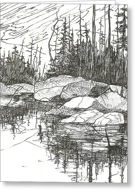 Canoe Drawings Greeting Cards - Rock Lake.Algonquin Provincial Park Greeting Card by Madelaine Alter