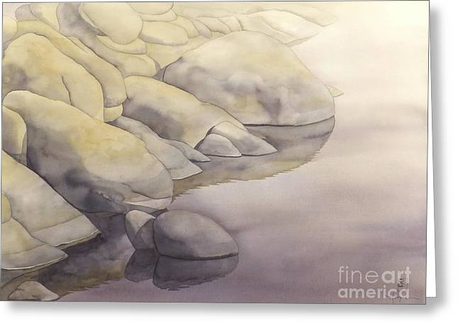Rock Meets Water Greeting Card by Robert Hooper