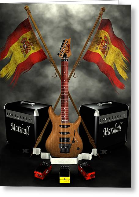 Frederico Borges Digital Greeting Cards - Rock n Roll crest- Spain Greeting Card by Frederico Borges