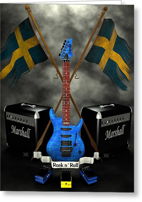 Frederico Borges Digital Greeting Cards - Rock n Roll crest- Sweden Greeting Card by Frederico Borges