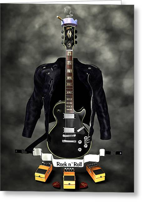 Frederico Borges Greeting Cards - Rock N Roll crest-The guitarist Greeting Card by Frederico Borges